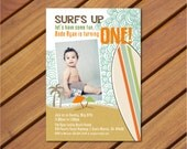 Printable Custom Vintage Surf Themed Photo Birthday Party Invitation