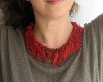 Boheme Statement Necklace. Leather Jewelry. Red Suede Fringe Necklace. Statement Bib Boheme Necklace