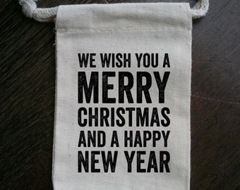 We Wish You A Merry Christmas Party Muslin Favor Bag
