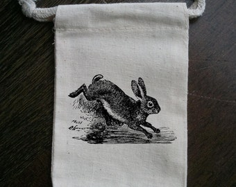 Vintage Jumping Bunny Silhouette Muslin Party Favor Bag
