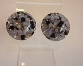 Confetti Lucite Earrings Unusual Lavender & Black w Glitter  screw-back