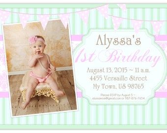First Birthday Photo Card Invitation - custom design for YOU, Stripes, Damask First Birthday Invitation, 1st Birthday Invite, peach chevron