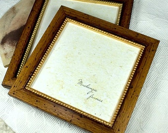 8x8 Rustic Brown Wood and Gold Photo Frame