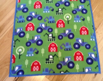 "Fun Farm Baby Blanket, Flannel and Fleece 29x36"", ready to ship"
