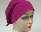 Price Lowered: Organic Cotton Hat Snood Adjustable Chic for Everyday or Chemo, Magenta, Med to XL