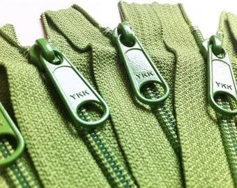 Five 24 Inch YKK Long Handbag Pull Purse Zippers Color 081 Asparagus Green