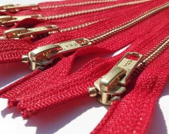 Metal Zippers- YKK closed bottom brass teeth zips- (5) pieces - Hot Red 519- Number 5s- Available in 7,12, 18.5 or 20 Inches