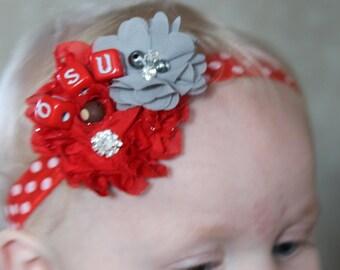 Ohio State Baby Headband, OSU Headband, Buckeye Headband, Brutus Headband, Ohio State Photo Prop