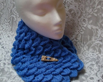 """FREE SHIPPING - 27"""" Royal Blue Dragon Scale neck warmer with handmade 2"""" shell and ebony toggle button - Soft & Warm"""