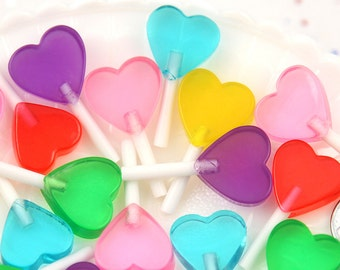 Heart Lollipops - 35mm Little Heart Shaped Fake Lollipop Faux Candy Acrylic or Resin Cabochons - A Rainbow of Colors - 6 pc set