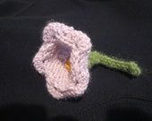 Lovely Spring Summer Time Knit  Light Lavender Campanula Flower With Green Stem Applique Pin Broche Accssory