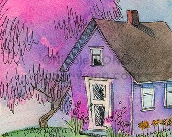 Original ACEO Painting -- Cottage