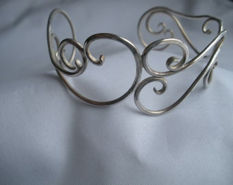 Sterling Silver Cuff Bracelet Swirled Wire