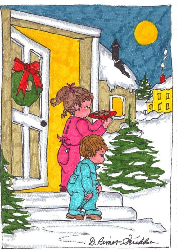 Christmas Note Card Hand Drawn Chc013 By Suelinder55 On Etsy
