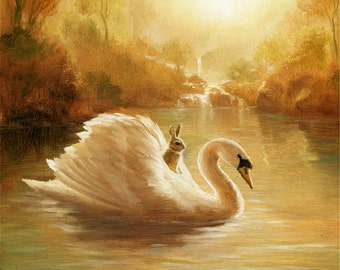 Isabella and the Swan,Print  granddaughter,grandson , child,kids nursery,