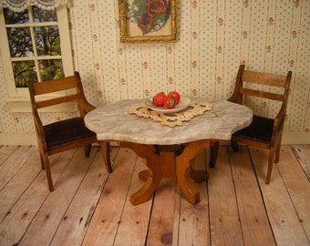 Price Reduced - Antique Schneegas Dollhouse Furniture - Golden Oak Turtle Top Parlor Table and Two Chairs - 1 Inch Scale