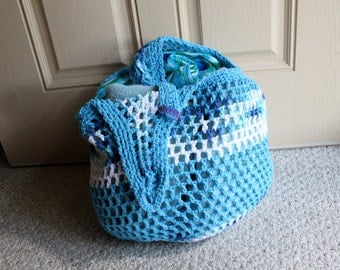 BIG Beautiful Beach Tote - In 100pct Cotton Yarns -  Market Tote, Beach Bag, Produce Bag - Eco Friendly - Teals Blues Whites