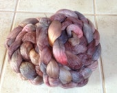 "Merino Tencel spinning fiber ""Granite""  hand dyed roving combed top"