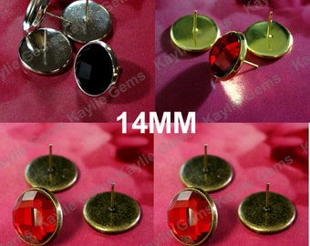 8 Earring Stud Setting Fits Round 14mm Cabochon Cab With Backing, Gold, Silver, Platinum, Antique Brass