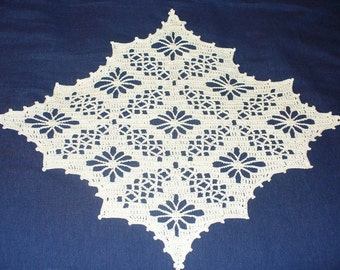 """15.5"""" by 13"""" White Pointed Doily - ready to ship - crocheted"""