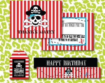 Instant Download DIY Pirate Birthday Arh Matey Party Extras Pack