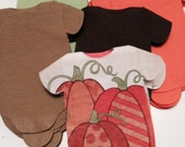 Any quantity Fall Baby Shower snap-shirt shaped napkins in Autumn colors and pumpkins.