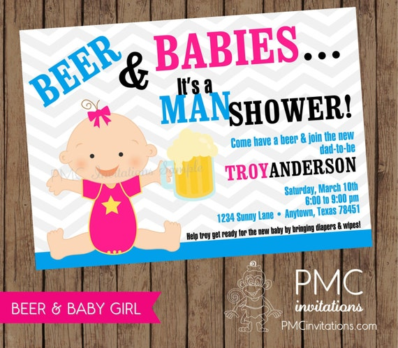 MAN SHOWER Beer and Babies Diaper Party Invitation 100 each with