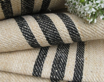 antique handloomed rarest BLACK 29.511 yard twill fabric strong and stiff, stairrunner projects