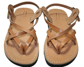 Caramel Mix Leather Sandals For Men & Women - Handmade Unisex Sandals, Flip Flop Sandals, Jesus Sandals, Genuine Leather Sandals