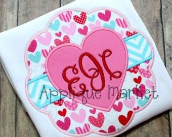Machine Embroidery Design Applique Heart Scallop 2 INSTANT DOWNLOAD