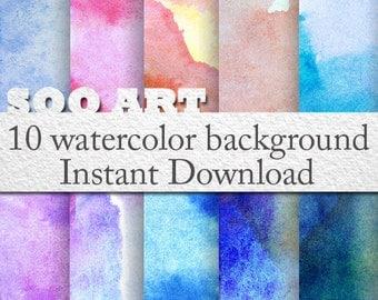 10 watercolor background : SooArt Good for Scrapbook,  Art, ACEO, ATC, Pendant etc.