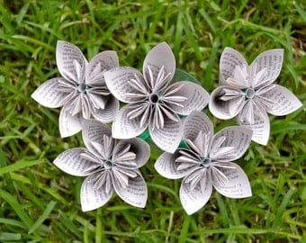 Sherlock Holmes Recycled Book Paper Flowers {5 Medium Size}