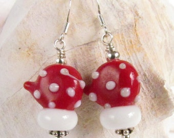 Beaded Red and White Mitten Earrings, Holiday, Christmas, Gift, Santa, Winter, Lampwork, SRAJD, Handmade by Harleypaws