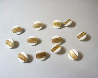 12 Gold and White  Colored, Shank Buttons, Lot 2568 (Free US Shipping)