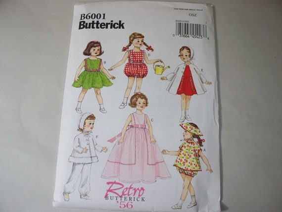 new butterick retro 18 doll clothes pattern b6001 free