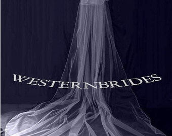 Wedding 2 TIER CATHEDRAL Veil with blusher veil. White, ivory, Diamond white. Ready to wear on silver comb