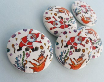 3 Santa Claus Wooden Buttons - Red and white sewing buttons 30mm