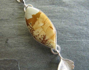 Owyhee Landscape Jasper and Leaf Pendant in Sterling Silver