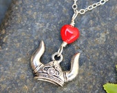 Viking Love necklace- viking helmet w/ red glass heart- sterling silver chain- Opera fans,Anglo Saxons, Nordic -Skyrim- free shipping in USA
