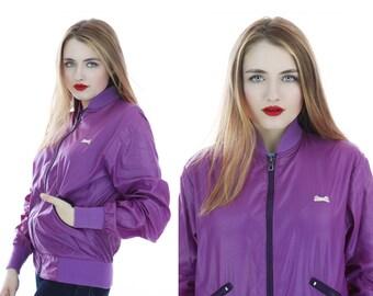 80s Le Tigre Jacket Vintage 1980s Rare Purple Windbreaker Bomber Shiny Nylon 70s Disco Glam Small S