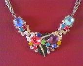1950's  Vintage multi Colored Rhinestone,Real look, Semi precious Faux Stones, Silver colored Necklace