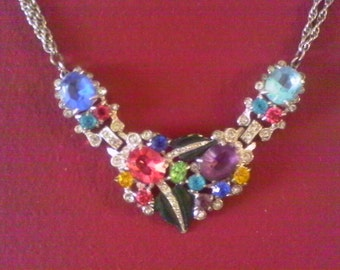 1950's  Vintage multi Colored Rhinestone,Real look, Semi precious Faux Stones, Silver colored Necklace