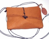 Tangerine Deerskin Cross Body Handbag handmade