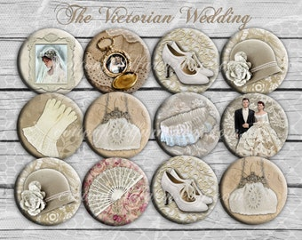 Victorian Wedding Bridal Pin Back Buttons, Mirrors or Magnets 2.25 Inch for Shower, Wedding or Birthday Favors Set of 12 Can be personalized