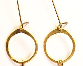 Mini Hoop with Brass teardrop Earrings