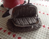 Change purse, Crocheted, Grey with gun metal steel frame.