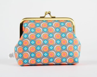 Metal frame coin purse - Luna gris - Deep dad / Petit Pan french fabric / Bright neon orange pink dots / grey teal / geometric modern