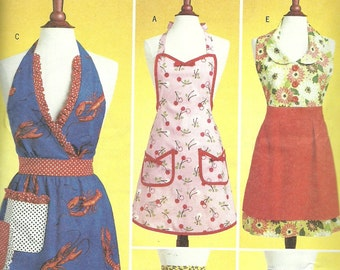 BUTTERICK PATTERN B5474, five styles of ladie's aprons, full and half sizes, one size fits most, new and uncut