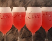 Live Laugh Love & Let Go Frosted White Wine Glasses Set Of 4