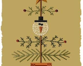 Primitive Machine Embroidery Design-Snow Christmas Tree-4x4-INSTANT DOWNLOAD
